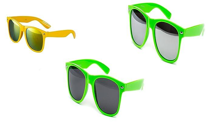 Sonnenbrille Nerdbrille Nerd Neon Grün Transparent  Günstig