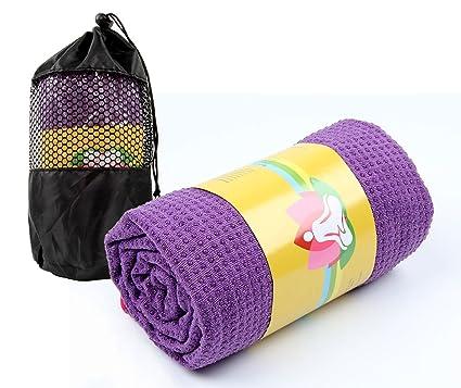 Winthome Antideslizante Yoga Mat Toalla de Yoga con Bolsa de Transporte Gratuita (Púrpura)