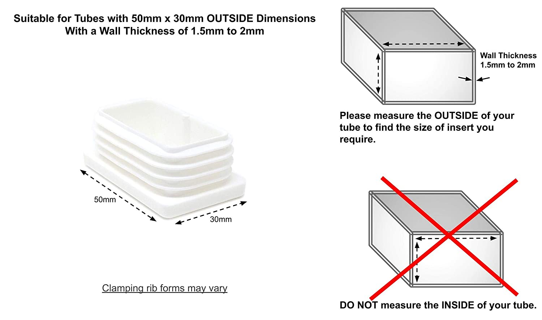 Producto hecho en Alemania. blanco Insertos acanalados para tubos rectangulares Tapas de pl/ástico