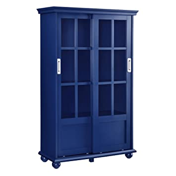 Ameriwood Home Aaron Lane Bookcase With Sliding Glass Doors Blue