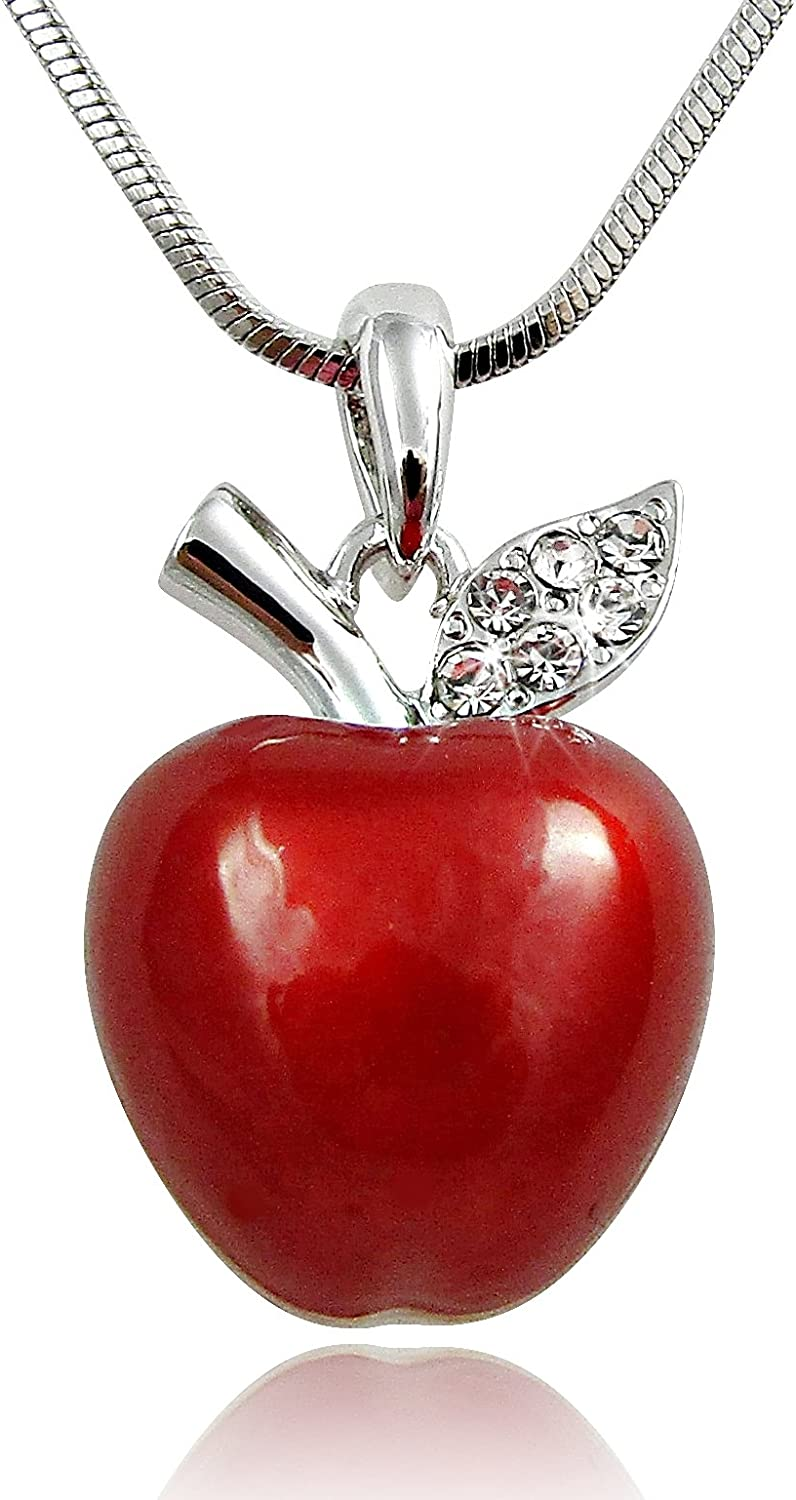 Twilight, Snow White Inspired 3D Juicy Red Apple Crystal Accented Leaf Pendant Necklace Halloween, Teacher Jewelry Gifts