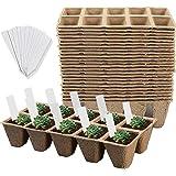 Litviz Seed Starter Peat Pots 15Pack (150cells), Premium Biodegradable and Organic Germination Seedling Trays Kit for Indoor