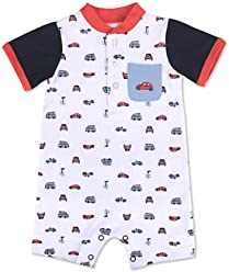 aa56383fb Crown   IVY Baby Boy s White Romper with Cars