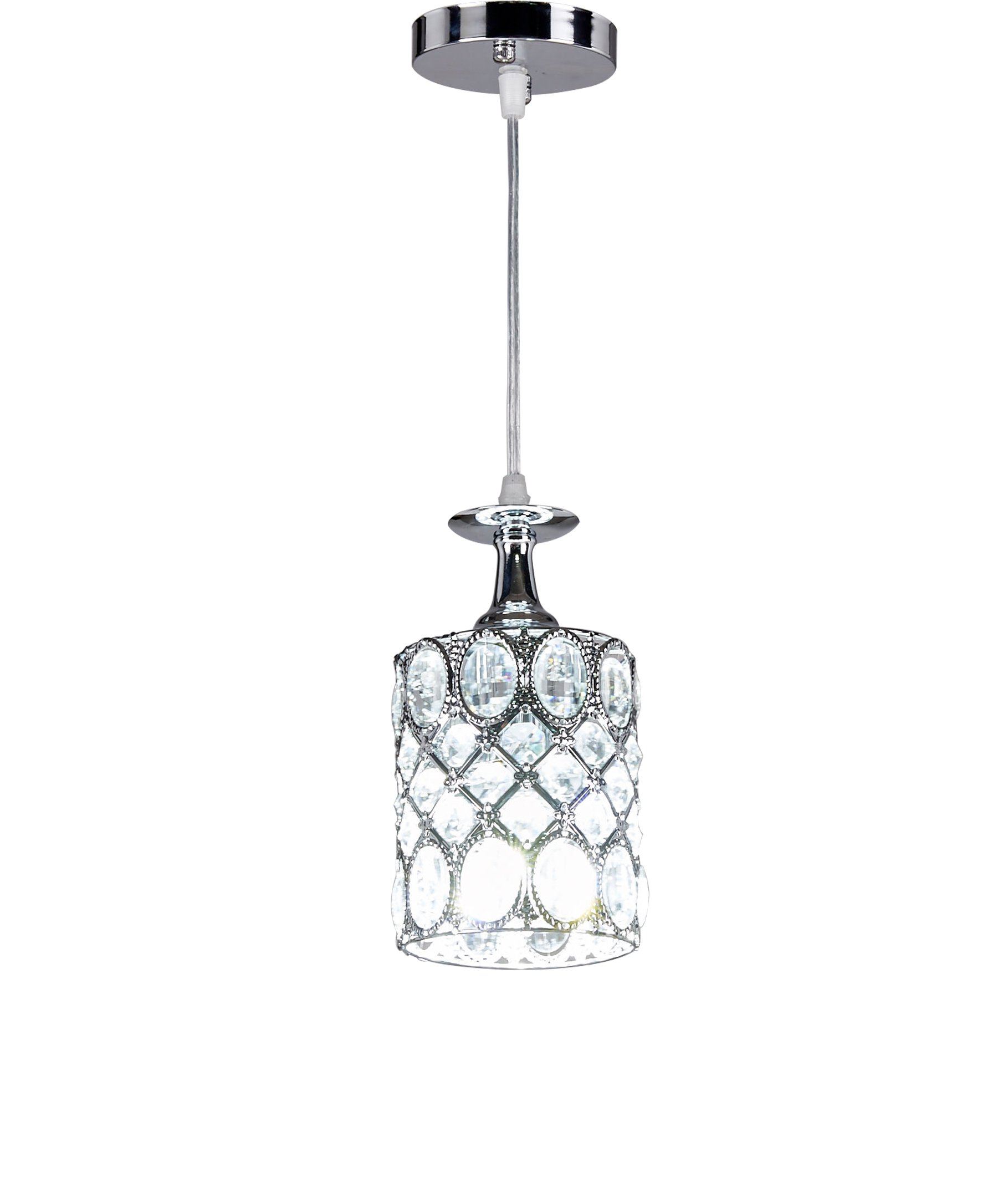 MonaLisa Gallery Chrome Crystal Mini Pendant Light,Kitchen Hanging Ceiling Lighting Fixture SML-8675-X-W4-Silver