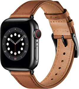 BesBand Compatible with Apple Watch Bands 44mm 42mm 40mm 38mm, Genuine Leather Business Replacement Bands Loop Men Women for iWatch SE & Series 6/5/4/3/2/1(Brown/Black,38mm/40mm)