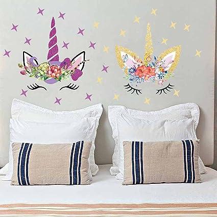 Easma Happy Unicorn Decal, Unicorn Wall Decal, Unicorn Floral Decal  Fairytale Wall Decal Girls