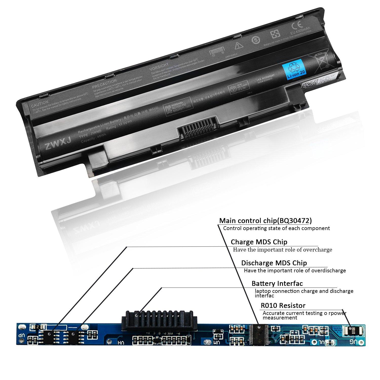 ZWXJ Laptop Battery Type J1KND(11 1V 48Wh) for DELL Inspiron 13R 14R(N4110)  15R(N5010) 17R(N7010) N4010 N5050 M5010 N4050 N5030 J1KND 9T48V Vostro
