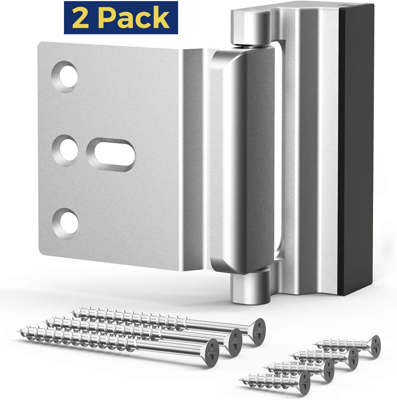 Security Lock, [2 Pack] Home Security Door Lock with 7 Screws, Childproof Door Reinforcement Lock, Withstand 1000 lbs for Inward Swinging Door,Upgrade Night Lock to Defend Your Home