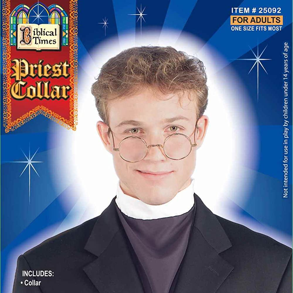 Priest Collar Pastor Roman White Theater Costume Accessory Adult Clerical