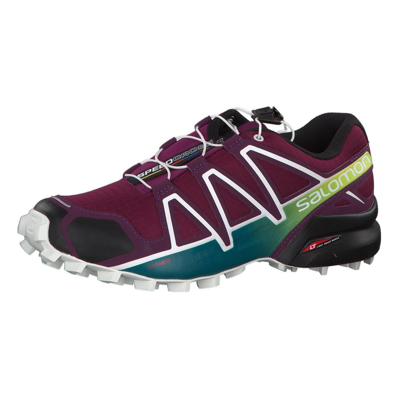 Salomon Womens Speedcross 4 Trail Sneaker,Dark Purple/White/Deep Lake, 8.5 B(M) US by Salomon