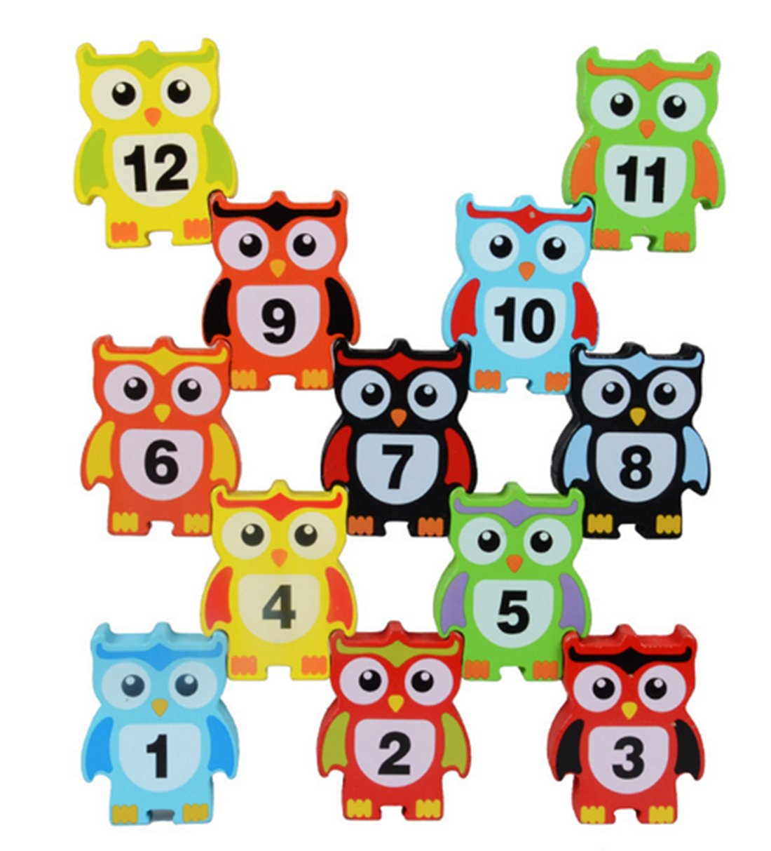 Naovio 12 Pcs Wooden Children Stacking Toy Owl Shapes Stacking Blocks Toys Balance Game Toy Set for Kids Ideal Christmas Gift Birthday Gift for Children