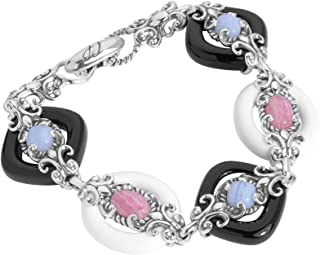 product image for Carolyn Pollack Sterling Silver Multi Gemstone Choice of 2 Combinations Link Bracelet Size S, M or L