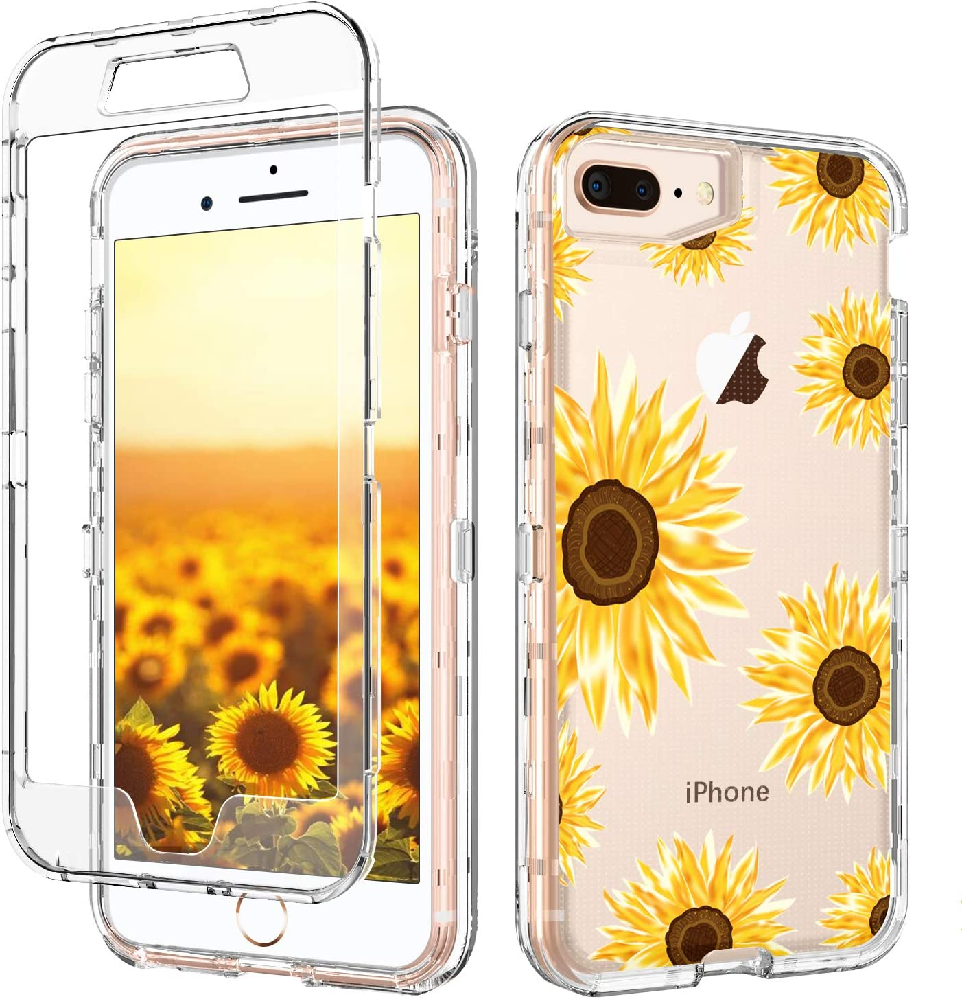 Amazon Com Iphone 8 Plus Case Iphone 7 Plus Case Clear Sunflower