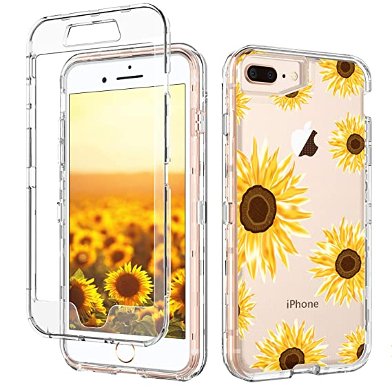 premium selection 54fb1 98ab4 GUAGUA iPhone 8 Plus Case iPhone 7 Plus Case Sunflower Clear Floral Flowers  Cover Three Layer Hybrid Hard Plastic Soft Rubber Shockproof Protective ...