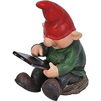Vivid Arts Ltd - Figura decorativa de hijo gnomo alegre con tablet