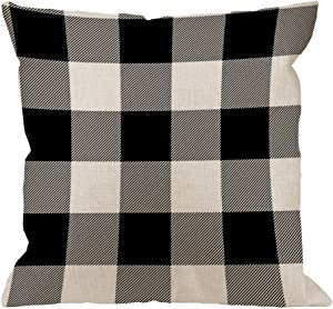 HGOD DESIGNS Buffalo Plaid Check Pillow Cover,Home Decorative Cotton Linen Square Checkered Cushion Cover Standard Pillowcase for Men Women Sofa Bedroom Livingroom 18 x 18 inch Rustic Black and Gray