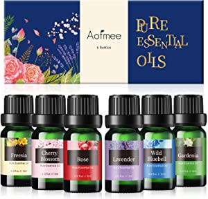 Essential Oils Set, Aofmee Essential Oils Set for Diffuser, Aromatherapy Diffuser Oils, 100% Pure Essential Oils for Candle Soap Making, Fragrance Lavender Oil for Sleep, Rose Oil for Skin Massage