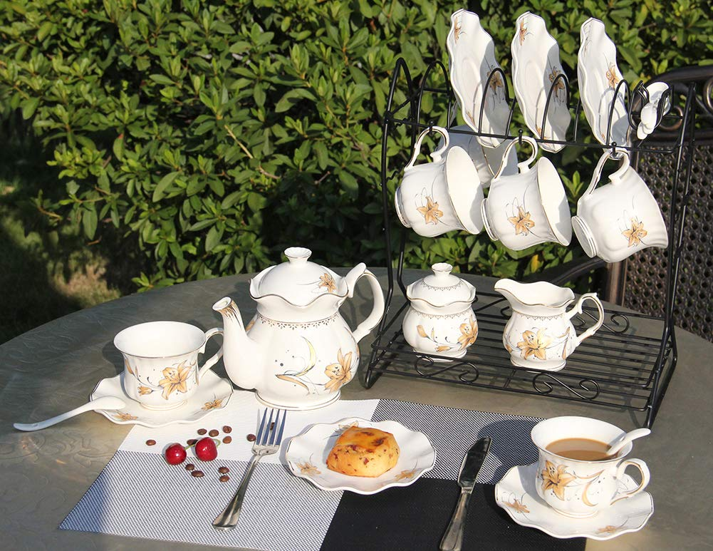 Porcelain Ceramic Coffee Tea Sets 21 pieces with Metal Holder,Cups and Saucers Sets and Spoons for 6,with Teapot Sugar Bowl Cream Pitcher by CHP (Image #2)