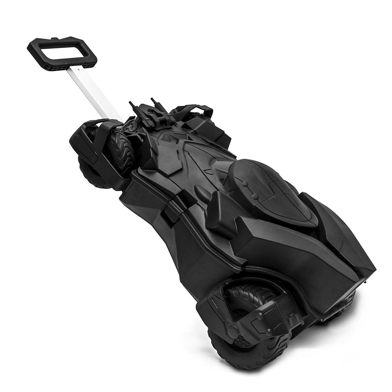 Kids Black Batman Batmobile Theme Wheeled Upright Rolling Suitcase, 3D Design Super Heroes Pattern Car Carry, Fashionable, Travel Wheeled Suit Bag Wheels, Wheeling Luggage