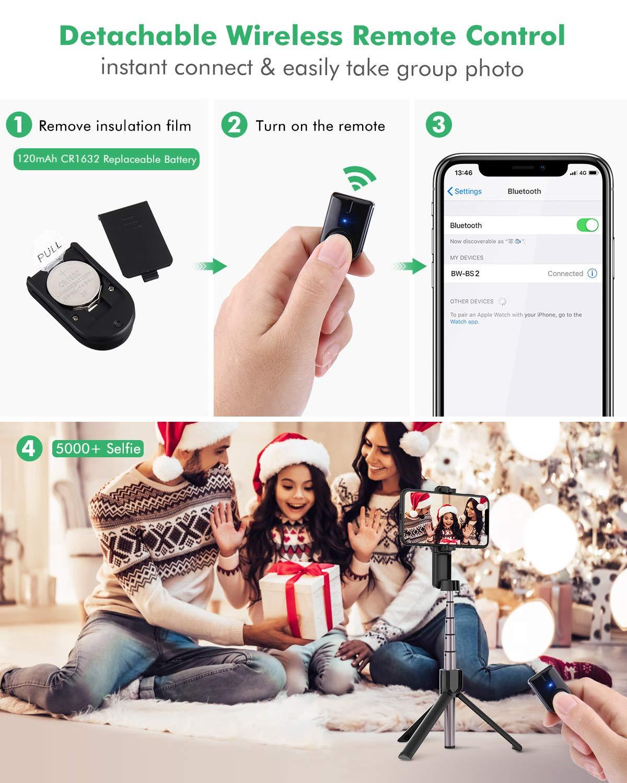 Galaxy S10 BlitzWolf Palo Selfie Tr/ípode con Control Remoto Bluetooth Huawei Xiaomi y M/ás 86.4cm Selfie Stick Extensible para iPhone 11 Pro//11//XS MAX//X//8 Plus//8//7 Plus//7//6//5