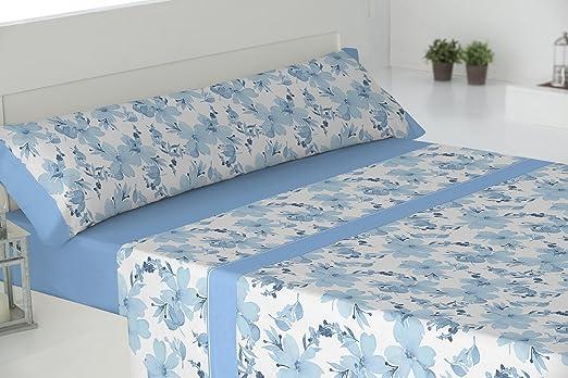Todomueble Palma Juego de Sábanas cama de 150, 100% Algodón, Azul ...