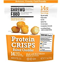 Shrewd Food Protein Puffs, Low Carb Puffs, Keto Friendly Crunchy Snack, Dehydrated Cheese Puff, Gluten Free, Soy Free, Peanut Free, 14g Protein 2g Carbs / Serving, Baked Cheddar, Family Size