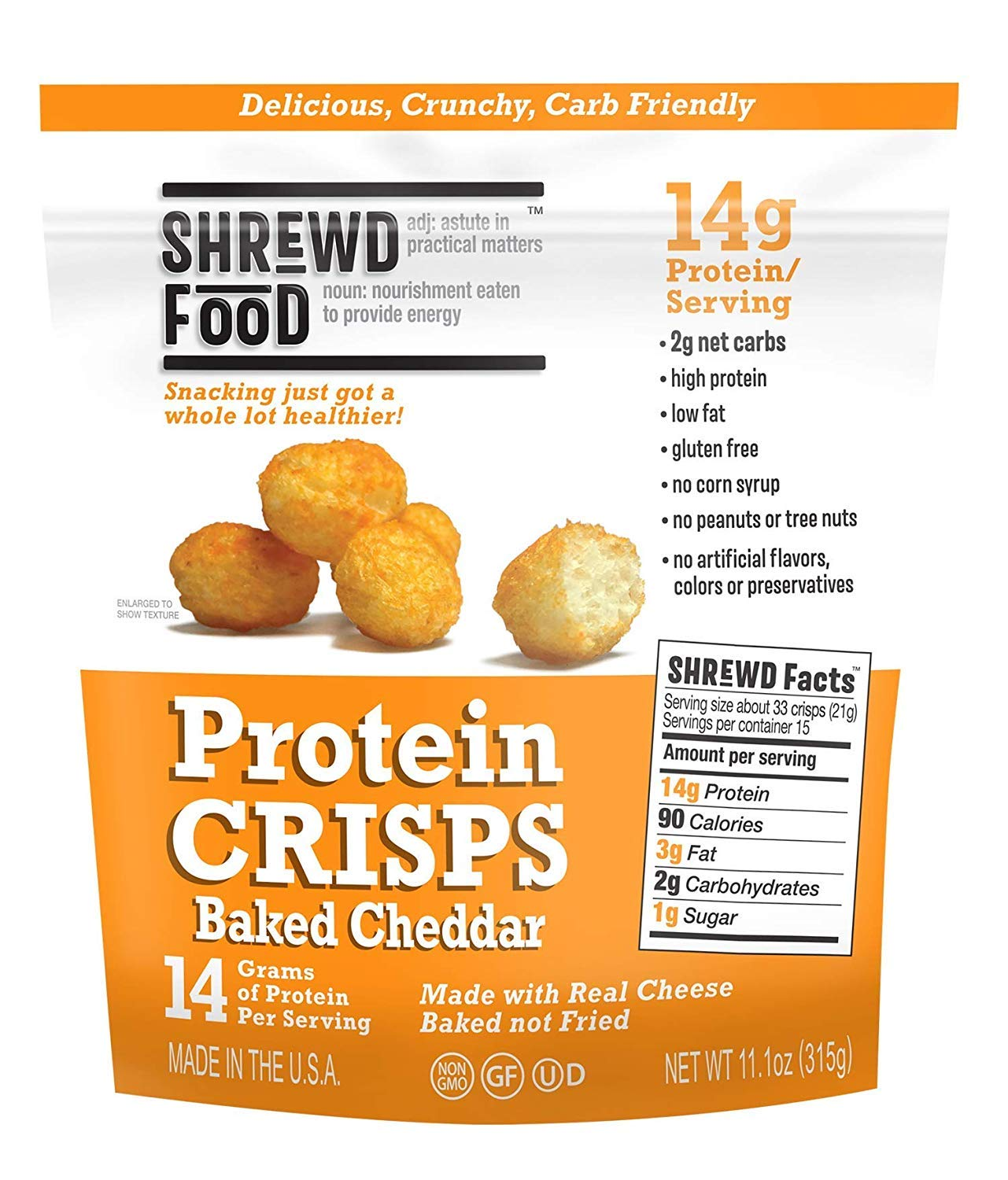 Shrewd Food Protein Puffs, Low Carb Puffs, Keto Friendly Crunchy Snack, Dehydrated Cheese Puff, Gluten Free, Soy Free, Peanut Free, 14g Protein 2g Carbs/Serving, Baked Cheddar, Club Size