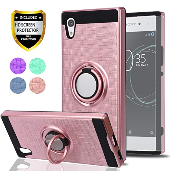 competitive price d0fed 4d38c Sony Xperia XA1 Case with HD Phone Screen Protector,Ymhxcy 360 Degree  Rotating Ring & Bracket Dual Layer Shock Bumper Cover for Sony Xperia XA1  ...