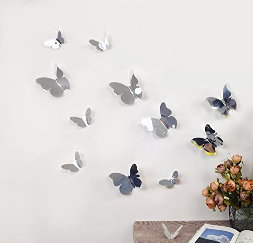 3D SILVER MIRROR BUTTERFLY WALL ART DECORATION STICKER   12 IN A PACK