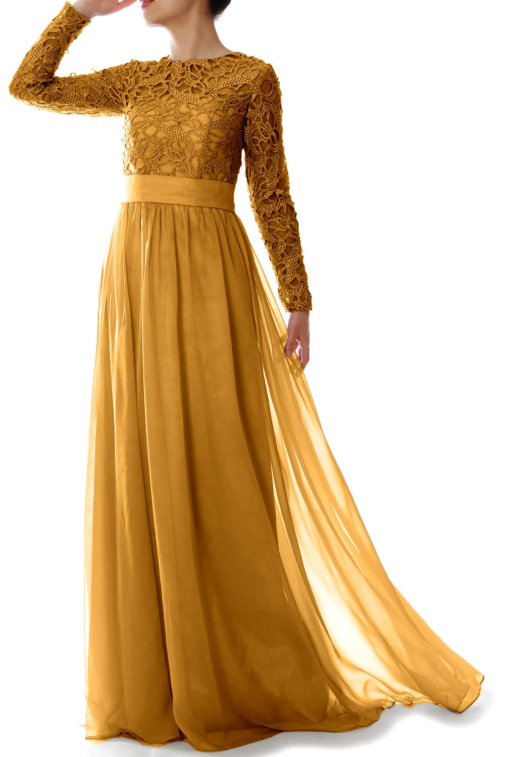 MACloth Elegant Long Sleeve Mother Of Bride Dress Lace Formal Evening Gown (22w, Gold)