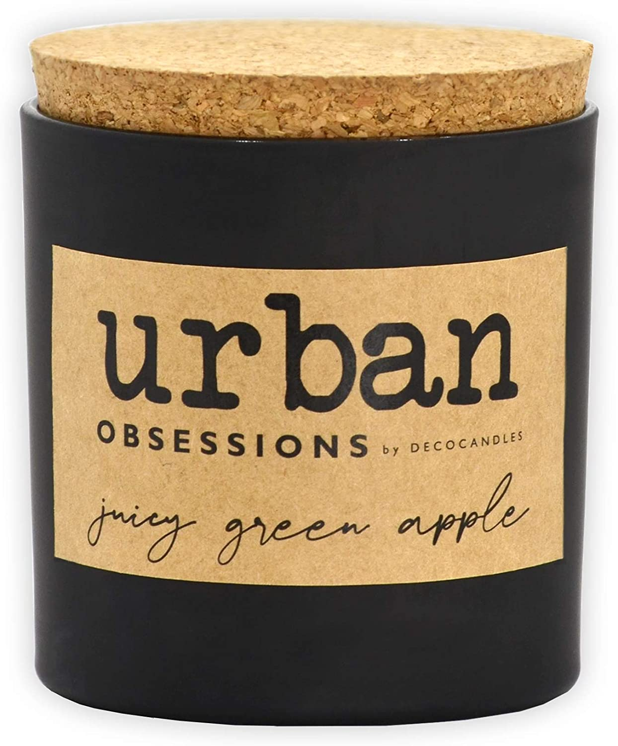 Urban Obsessions by DECOCANDLES   Juicy Green Apple - Highly Scented Soy Candle - Long Lasting - Hand Poured in USA 6.7 Oz. w/Cork lid