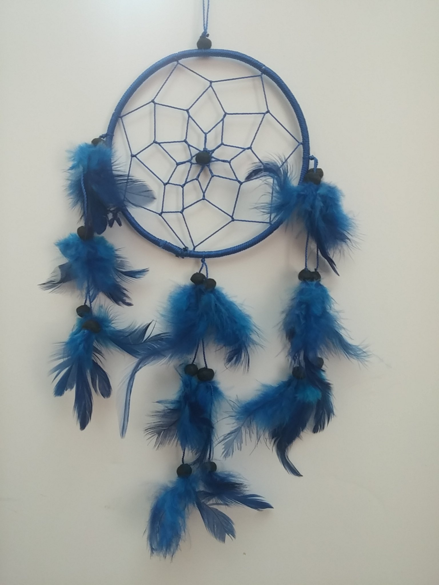 GYPSY PALACE Fantastic Dreamcatcher in Dark Blue-Handcrafted Beads and Feathers-Hangs 12 inches Long with 4 inch Diameter -A Great Gift