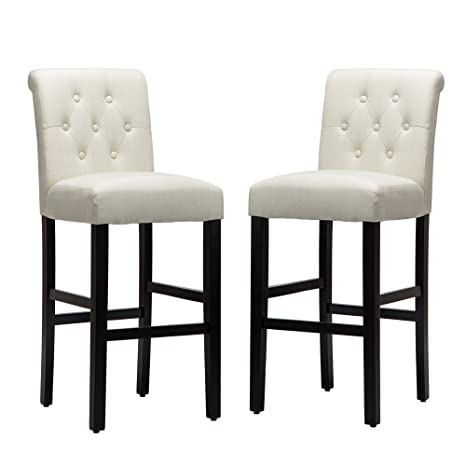Amazing Lssbought Set Of 2 Button Tufted Fabric Barstools Dining High Counter Height Side Chairs Seat Height 30 Inches Beige Machost Co Dining Chair Design Ideas Machostcouk