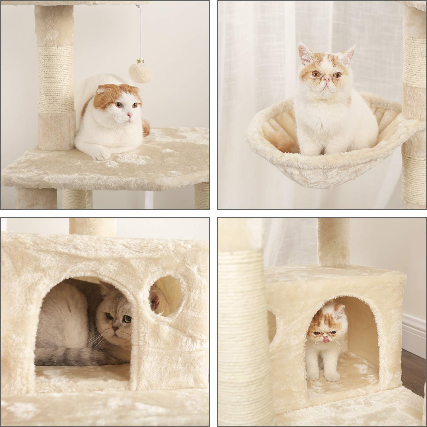 WLIVE 59'' Large Cat Tree Condo with Sisal Scratching Posts, 2 Plush Condos and Basket Lounger, Cat Tower Furniture WF062A by WLIVE (Image #5)