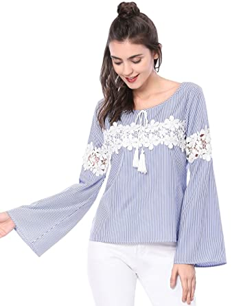 7ac059a6ea291 Allegra K Women s Trumpet Sleeve Scoop Neck Crochet Lace Striped Blouse  Blue XS (US 2