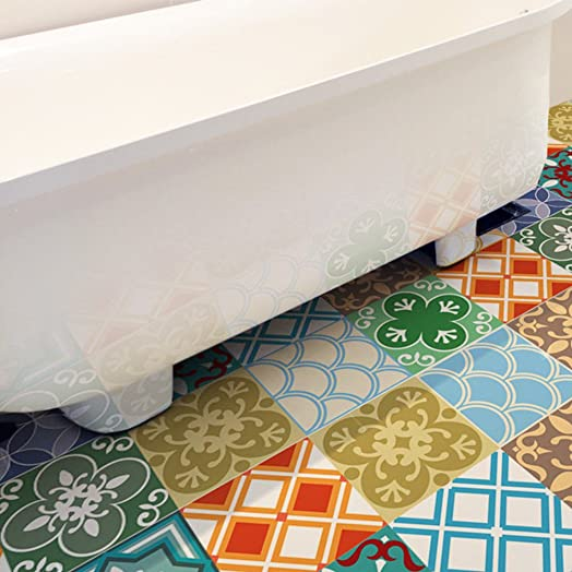 YYH Imitation Colourful Ceramic Tile 3D Floor Stickers Individuality  Decorative Eco Friendly PVC Decals For