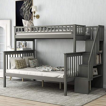 Litera de madera maciza con cajones de almacenamiento, litera para niños con escalera y barra de protección: Amazon.es: Hogar