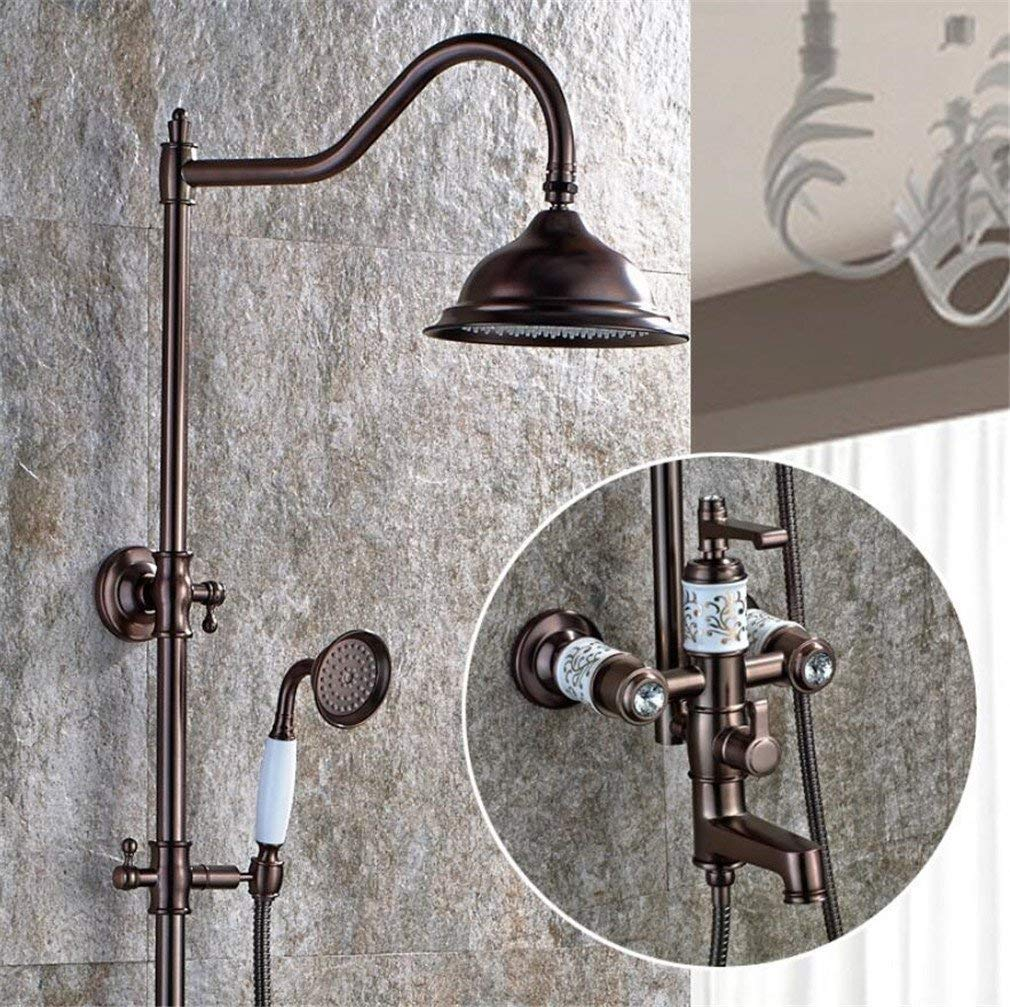 FuweiEncore Round Thermostatic Mixer Shower Set System Chrome Brass Ceramics Bathroom Wall Mounted Rainfall Shower Head (color   -, Size   -)
