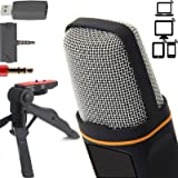 ZaxSound Professional Cardioid Condenser Microphone with Tripod Stand for PC, Laptop, iPhone, iPad, Android Phones, Tablets,