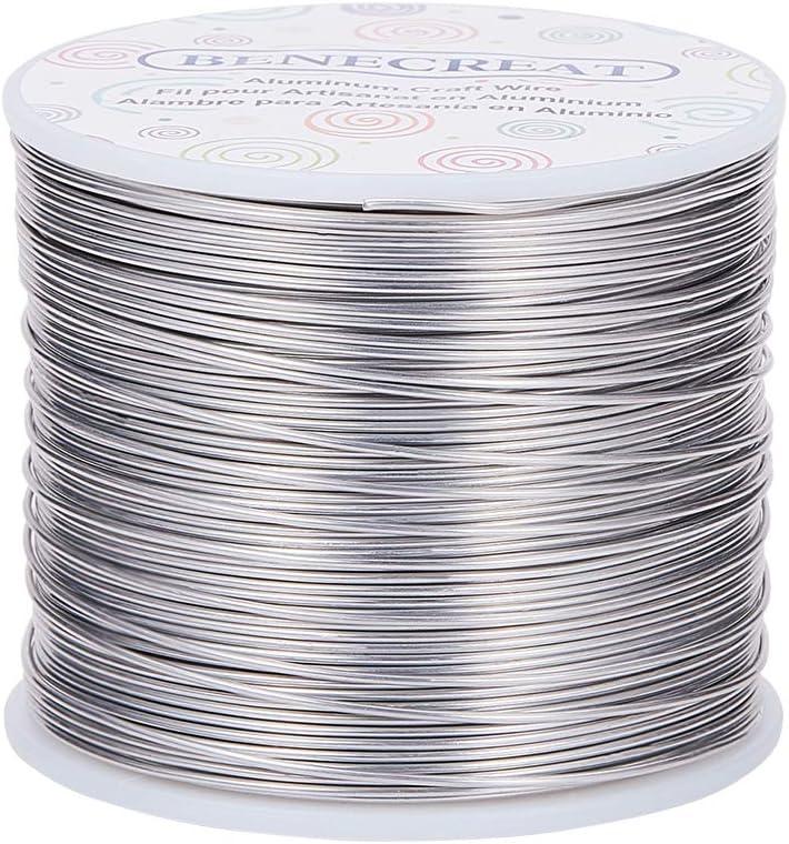 BENECREAT 150m 1mm Alambre de Aluminio Alambre Manualidades Hilo de Aluminio Color Primario Antióxido y sin Decoloración Alambre para Fabricación Bisutería y Artesanía