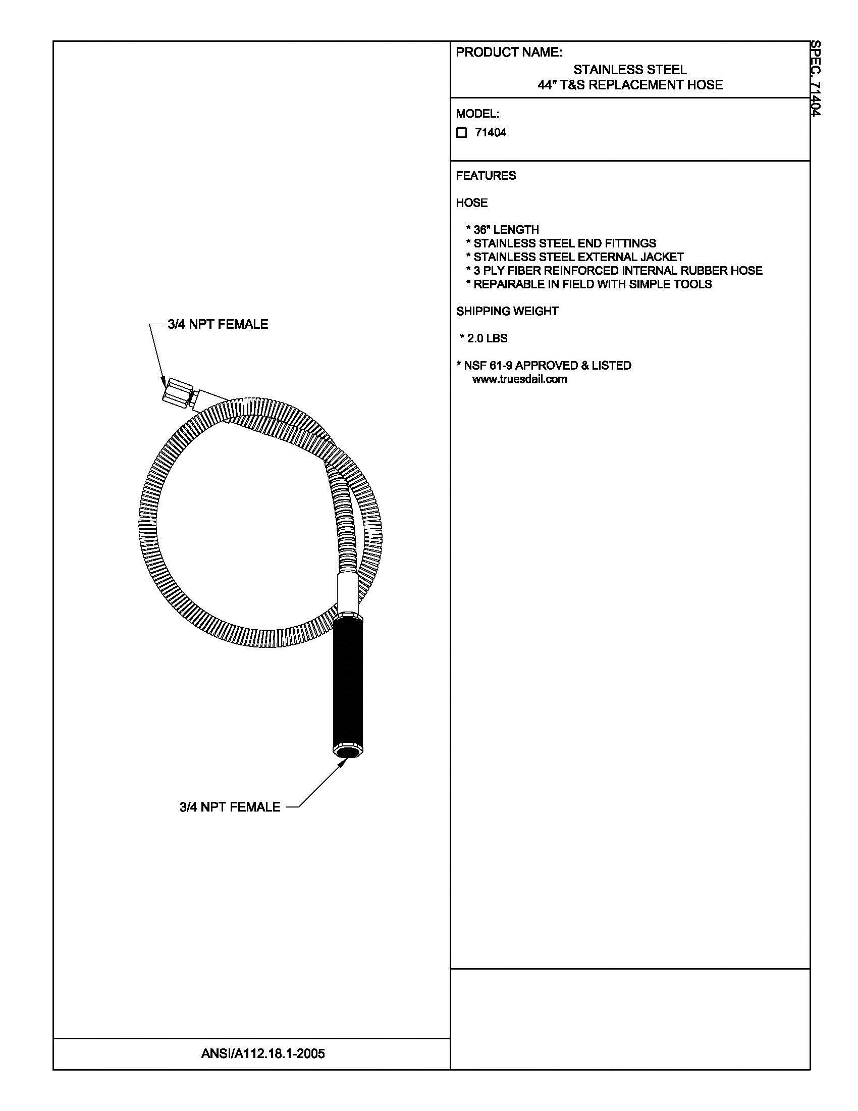 Fisher 71404 Stainless Steel 44'' T&S Replacement Hose
