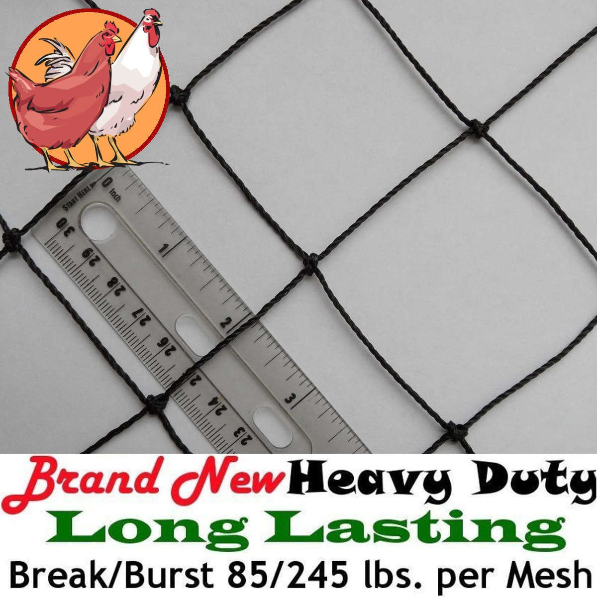 Poultry Netting 25ft x 50ft Heavy Knotted 2'' Mesh Nets Aviary Gamefowl Quail Chicken Bird Block Net Long Lasting Break/Burst 85/245 lb Polyethylene 8-10 Year Lifespan 13lb Ship Weight by Pinnon Hatch Farms