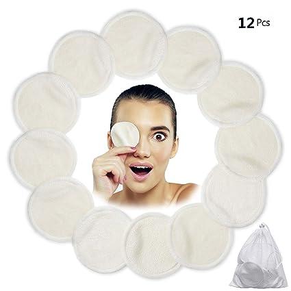 Algodones Desmaquillantes Reutilizables, Love77 12 Pieza Almohadillas desmaquilladoras, Almohadillas de enfermería de algodón de