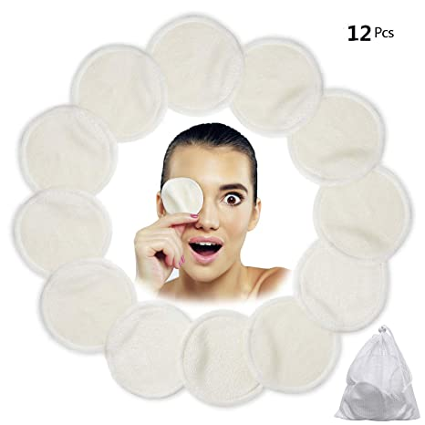 Algodones Desmaquillantes Reutilizables, Love77 12 Pieza Almohadillas desmaquilladoras, Almohadillas de enfermería de algodón de bambú lavables con ...