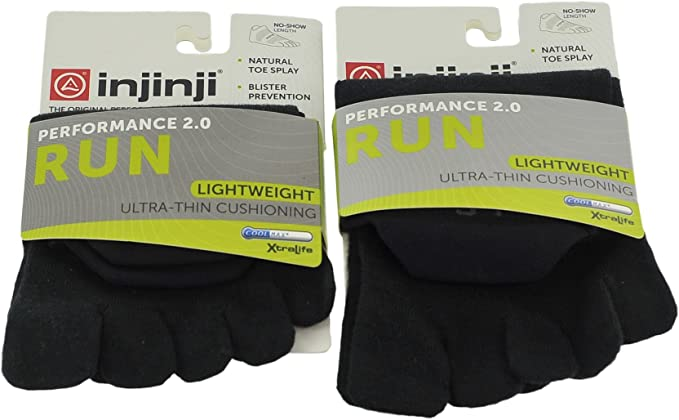Injinji Run Lightweight Socks No-Show Black