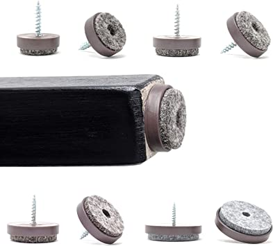 Furniture Sliders Brown, 28mm Diameter, Pack of 12 Floor Protectors with Soft Felt Gliders Made in Germany Screw System