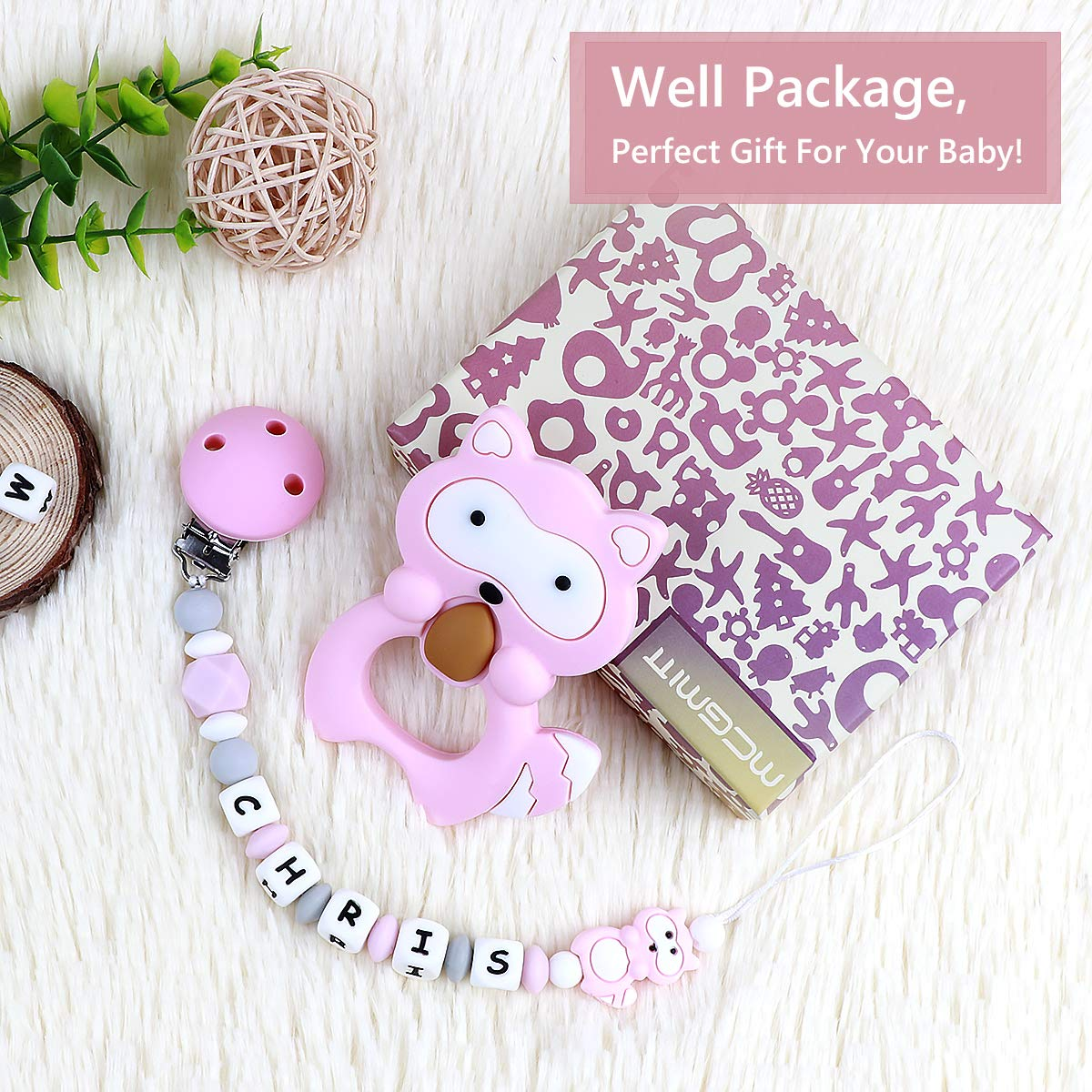 Dummy Clips Personalised Name Girls Teething Silicone Baby Pacifier Chain Soother Chain BPA Free Teething Relief Beads Binky Teether Holder Set Pink with Teething