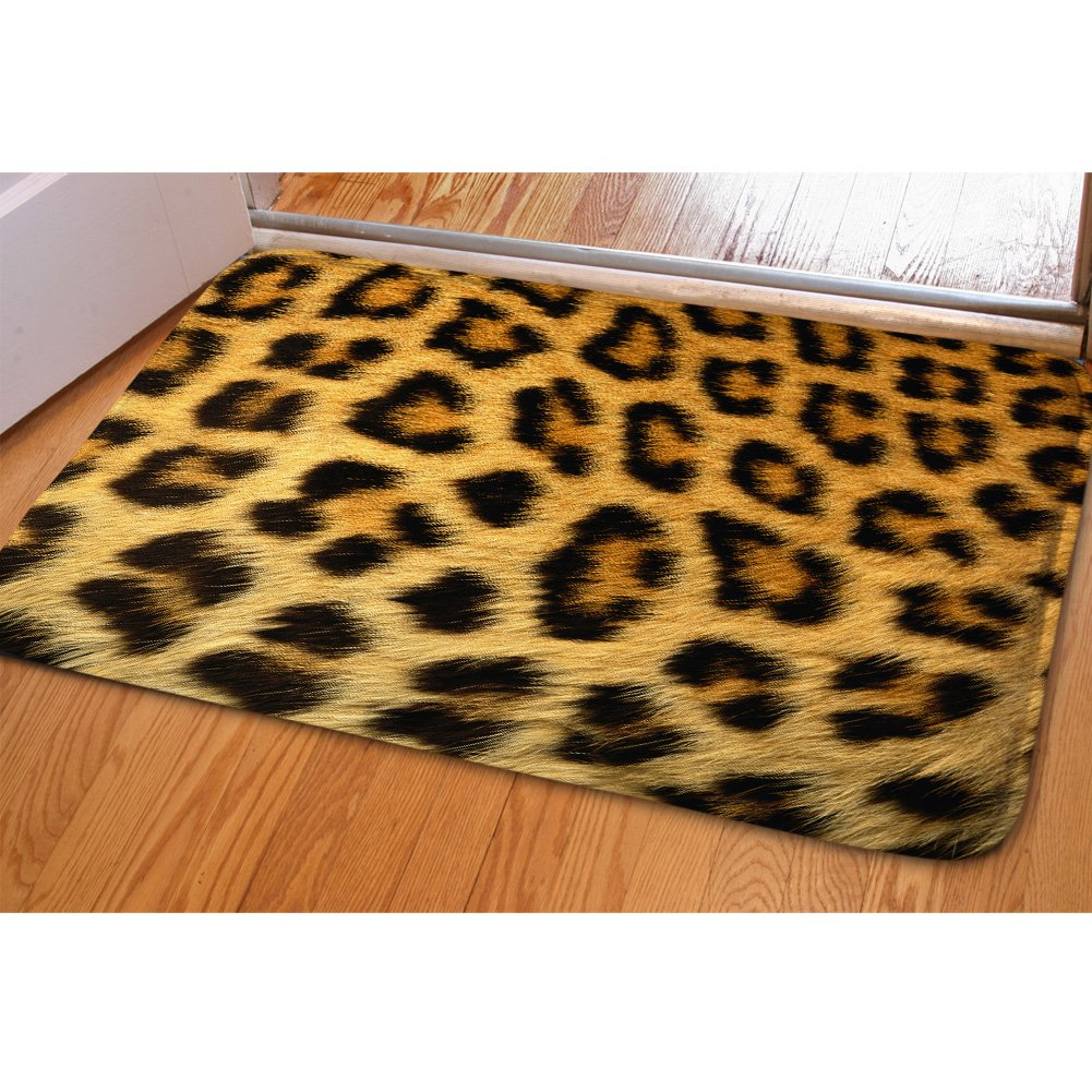 HUGSIDEA Animal Print Entrance Floor Doormat Rectangle Soft Front Mat Leopard Rug for Bedroom Living Room Kitchen Bathroom