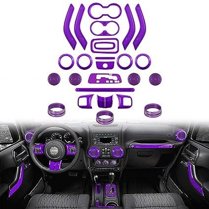 18pcs Green Interior Decoration Trim Covers For Jeep Wrangler JK JKU 2011-2018