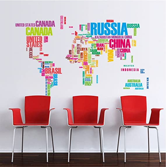 Amazon.com: World map English alphabet wall stickers living ...